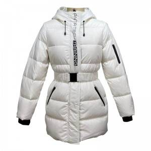 Hood Puffer Long Winter Women's Coat With Waist Belt