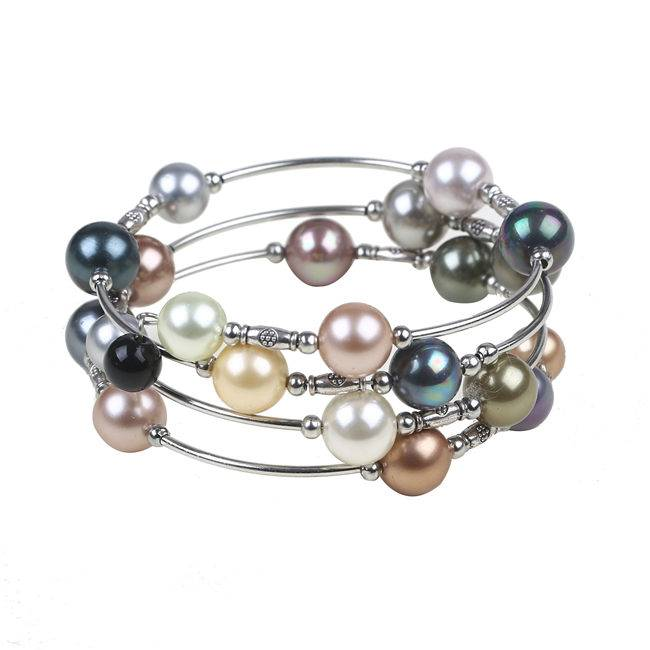 Manufactur standard Strands Round Pearl - Multicolor Mother Of Pearl Shell Round Beads Bracelet – Daking