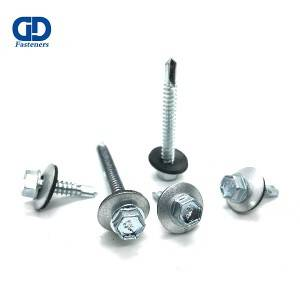 2020 Good Quality Stainless Steel Pan Head Self Drilling Screw - Hex flange head self drilling screw with 16mm epdm washer – DD Fasteners
