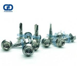 hexagonal flange head self drilling screw stain...