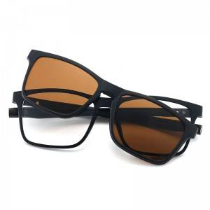 Polarized Rectangle Frame Clip on 5 in 1 Sunglasses