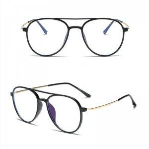 Anti-blue light oval flat glasses