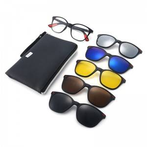 Good Wholesale Vendors Mirrored Clip On Sunglasses - DLC2316A Square TR90 Frame Clip on 5 in 1 S...