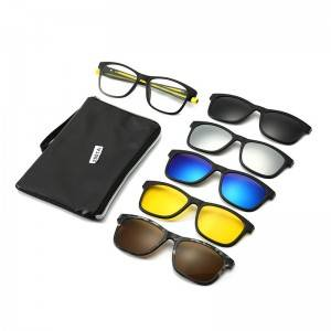 Chinese Professional Blue Light Glasses - TR90 Frame Clip on 5 in 1 Sunglasses With Silicone Str...