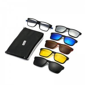 Factory best selling Cute Fashion Sunglasses - DLTR2502A  Rectangle Clip on 5 in 1 Sunglasses Wi...