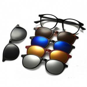 OEM/ODM China Fashion Vintage Sunglasses - DLC2245A Round Clip on 5 in 1 Sunglasses – D&L