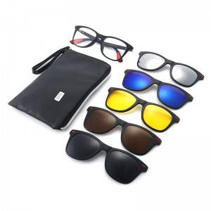 High definition Clip On Sunglasses Magnetic - DLC2317A TR90 Frame Square Clip on 5 in 1 Sunglass...