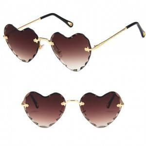 Factory wholesale Designer Oversized Sunglasses - DLL8705 Heart Shaped Metal Women Sunglasses &#...