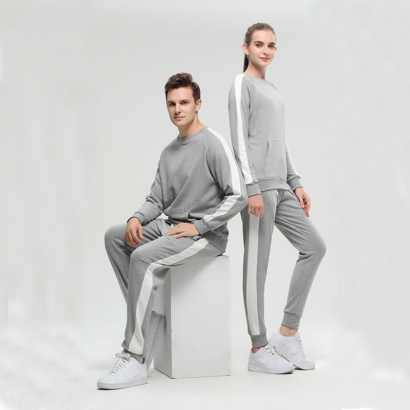 2021 new season customized crewneck and bottom tracksuits for lovers marl grey Featured Image