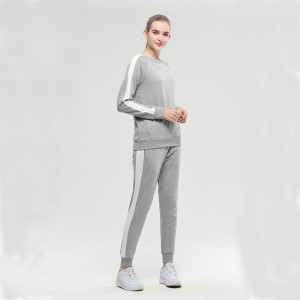 2021 new season customized crewneck and bottom tracksuits for lovers marl grey