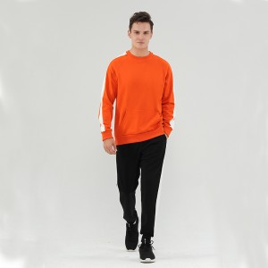2021 new season customized crewneck and bottom tracksuits for lovers orange color