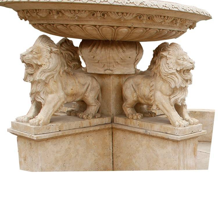 Marble stone large outdoor water swimming pool fountains statues with lions