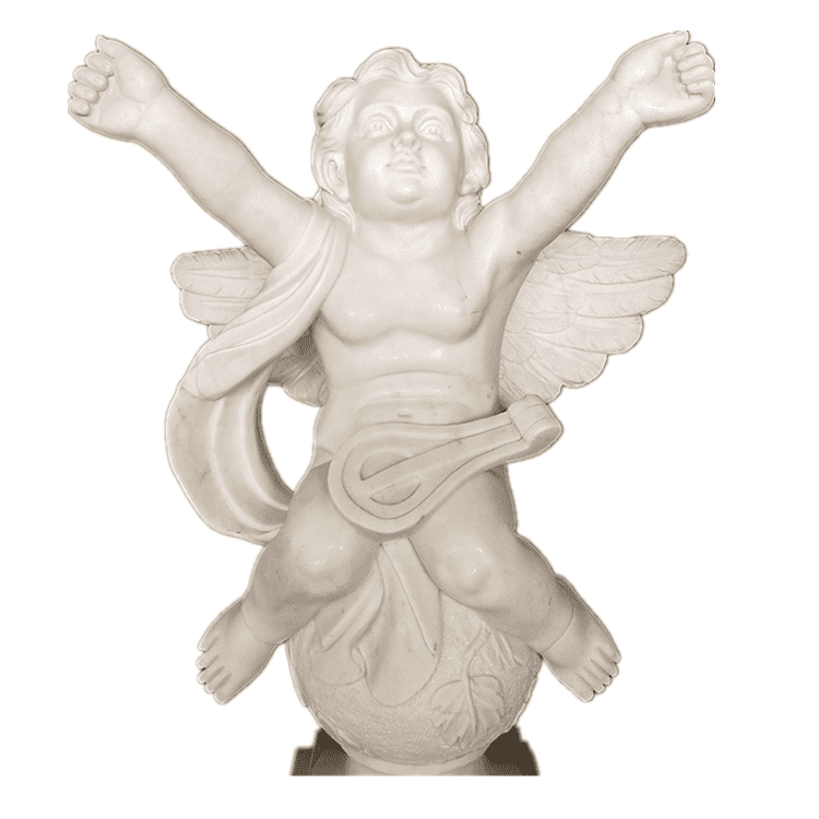 100% hand carved stone sculpture white marble little angel statues for sale