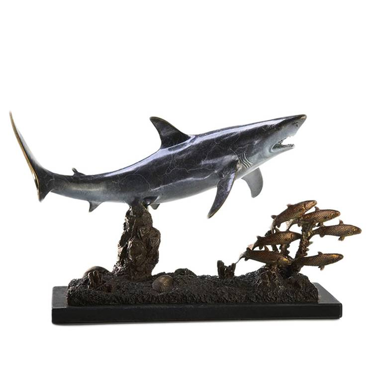 Wholesale Dealers of Bronze Bull Statue - 2020 new produced home decor large bronze shark fish sculpture – Atisan Works