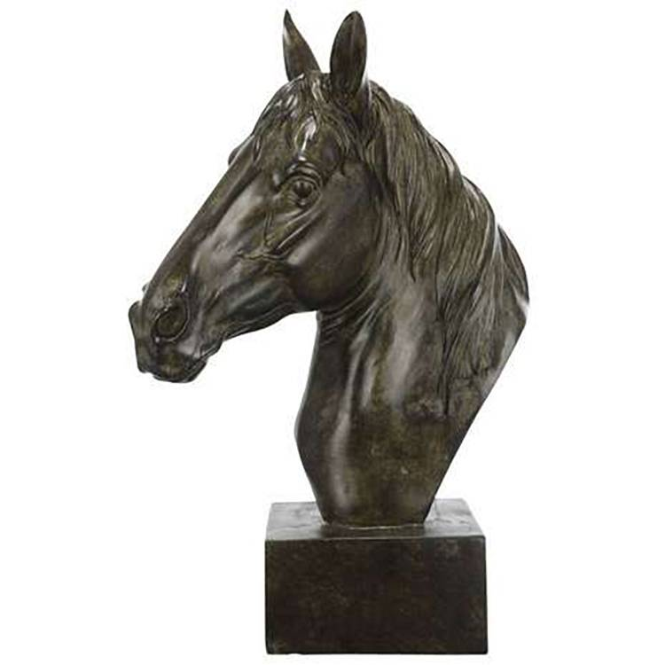 Outdoor  park sculpture metal casting bronze garden decorative horse head statue