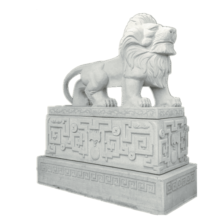 Cheap price Abstract Stone Sculpture - Outdoor front door lying white marble lion statue for sale – Atisan Works