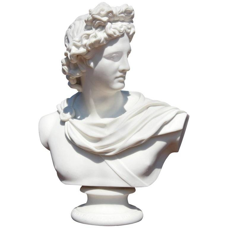 100% Original Design - 100% hand carved decoration stone sculpture life-size marble Pythian Apollo Belvedere bust statue – Atisan Works