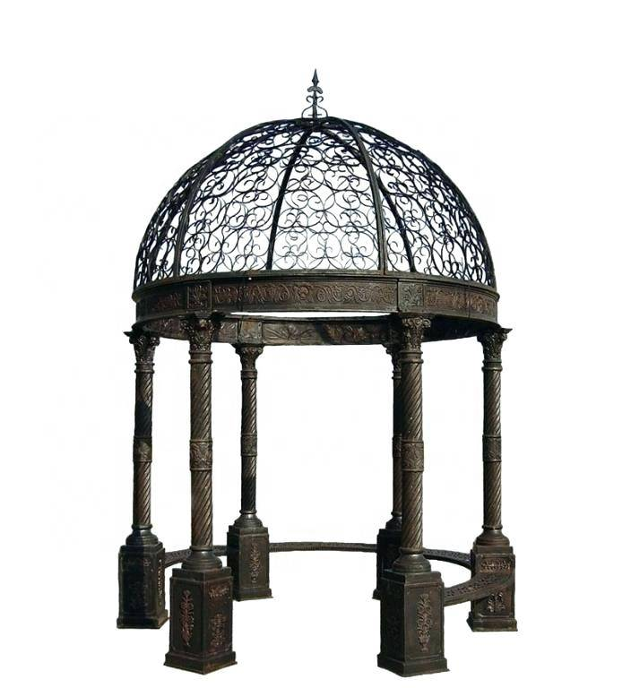 Popular outdoor decor wrought iron gazebo with seats for sale
