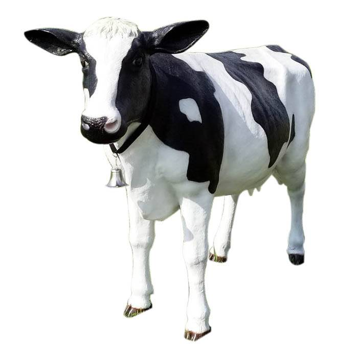 Large Garden Resin Animal Sculpture Life Size Fiberglass Cow Statue