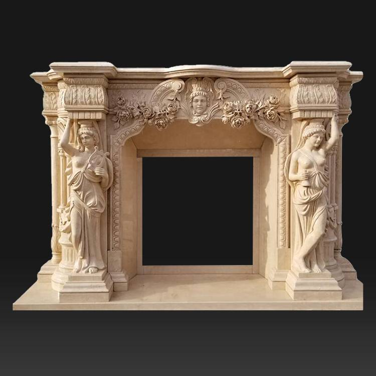 Indoor Used Freestanding indoor Stone Fireplace Surround Mantel Cheap Fireplace Mantel