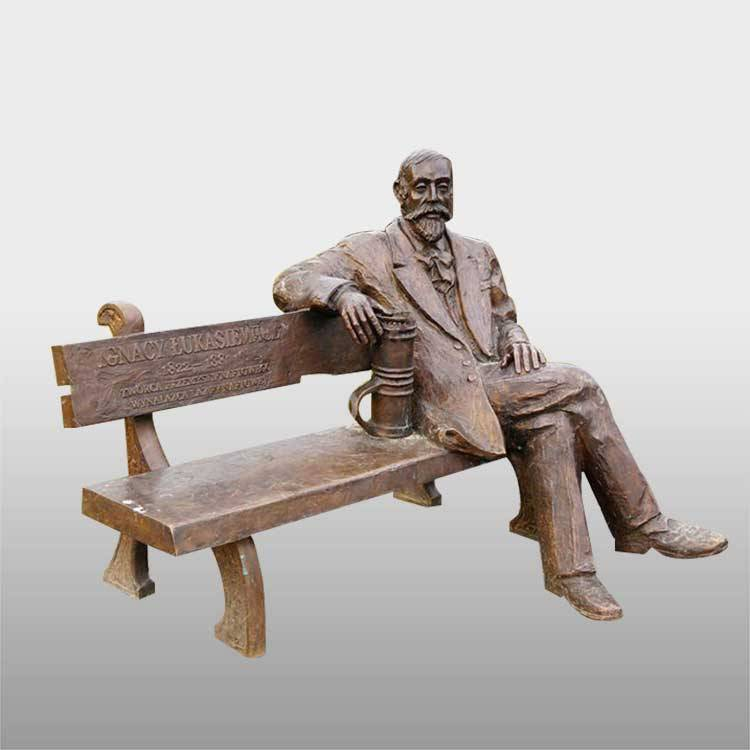Chinese Professional Paul Philippe Bronze Sculpture - Decorative the man sitting bench bronze garden sculpture – Atisan Works