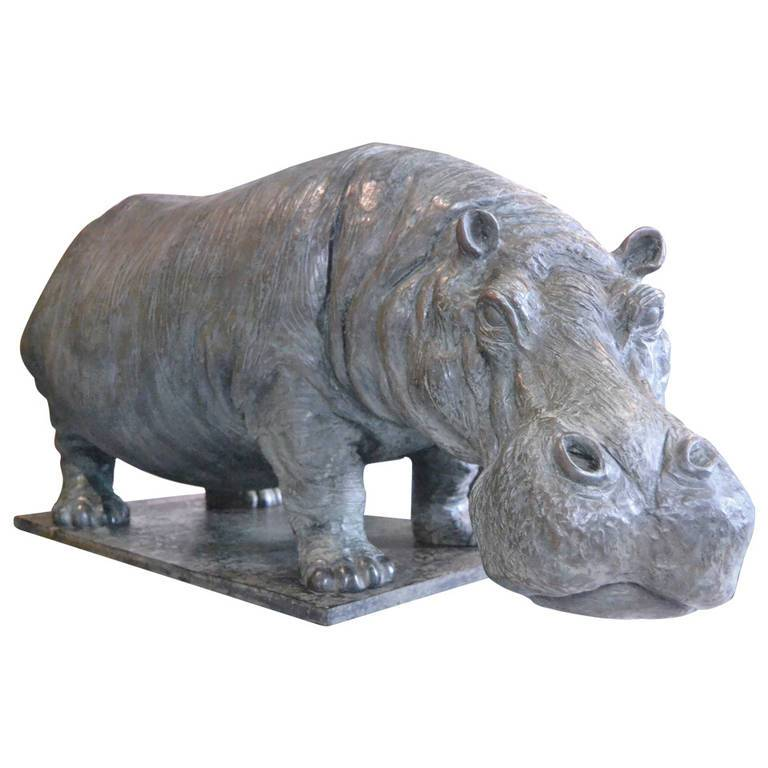 Online Exporter Art Deco Bronze Statues - Park decoration metal casting statue modern life-size bronze hippo sculpture on sale – Atisan Works