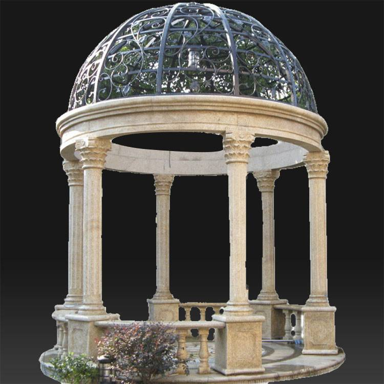 Roman style carved garden pavilion marble gazebo for sale