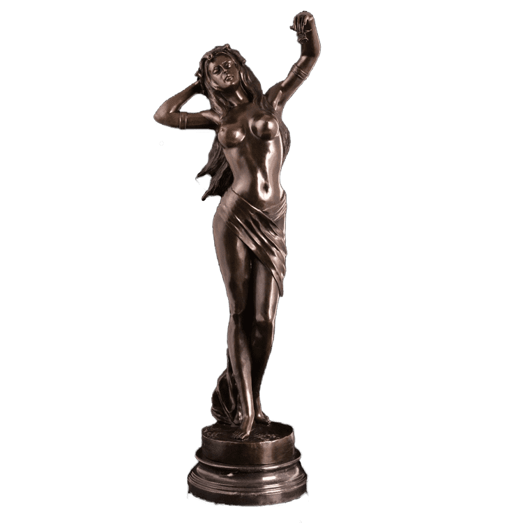 Factory source Bronze Longhorn Sculpture - beauty dancing lady statues 18 hair sexy short hair nude girl sculpture – Atisan Works