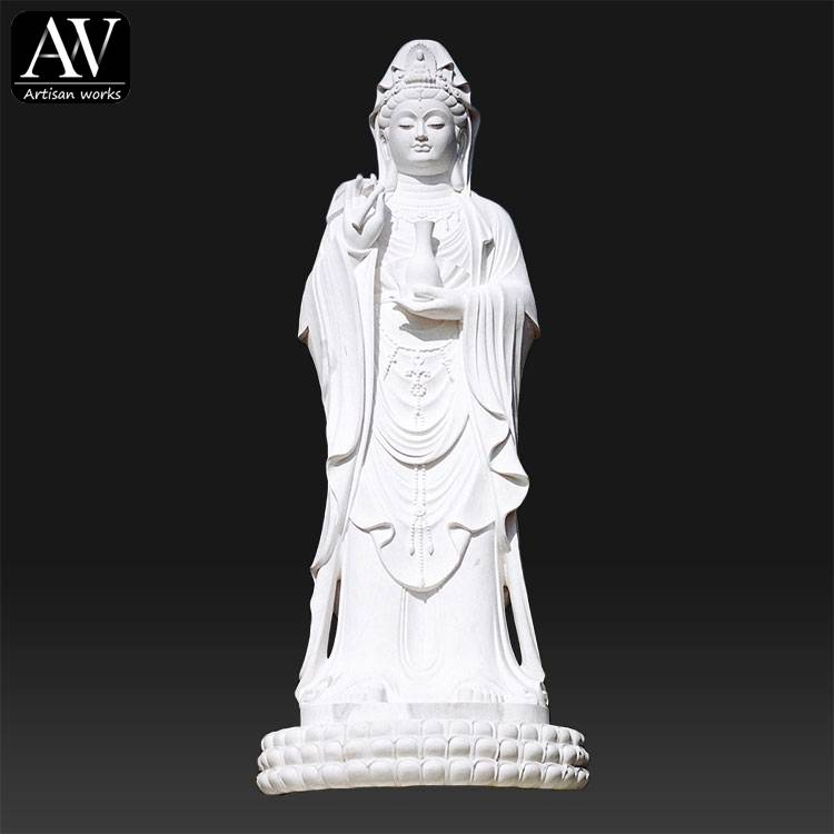 18 Years Factory Bust Sculpture - Customized Hand Carved Marble Sitting Life size female buddha statue – Atisan Works