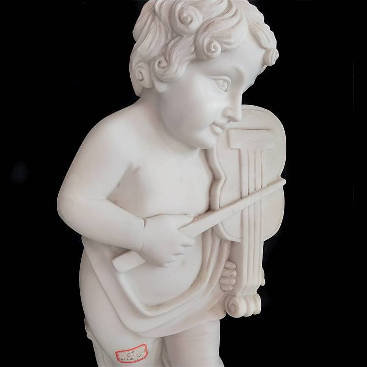 Low price for Hand Carved - Natural stone hand-carved violin boy white stone marble sculpture – Atisan Works