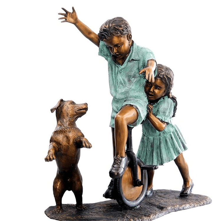 Outdoor large decor modern life sizeboy and girl sculpture for sale