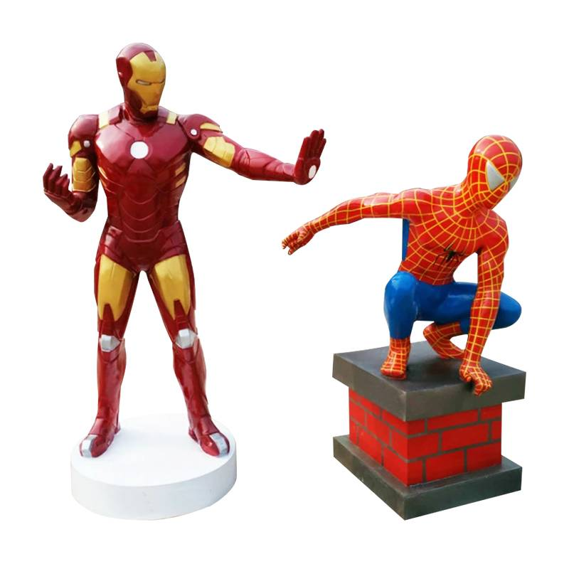Cartoon character sculpture of the movie spiderman