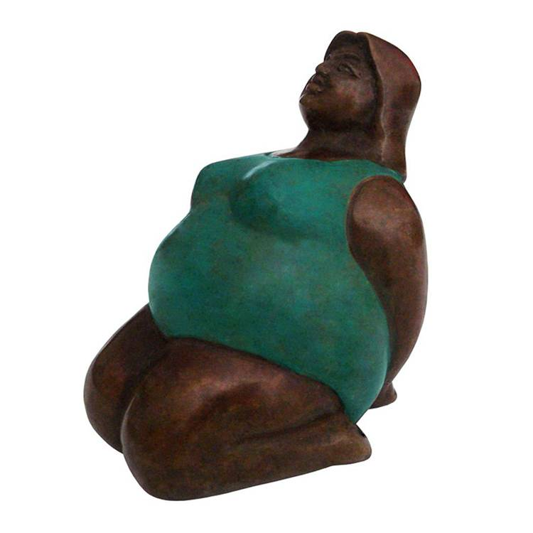 good price poses woman bronze statue yoga fat lady sculpture