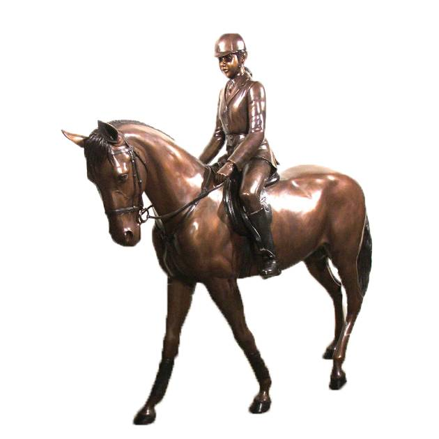 Discount Price Old Bronze Statue - Park and garden decoration sculpture  modern life size cast bronze riding horse statue – Atisan Works