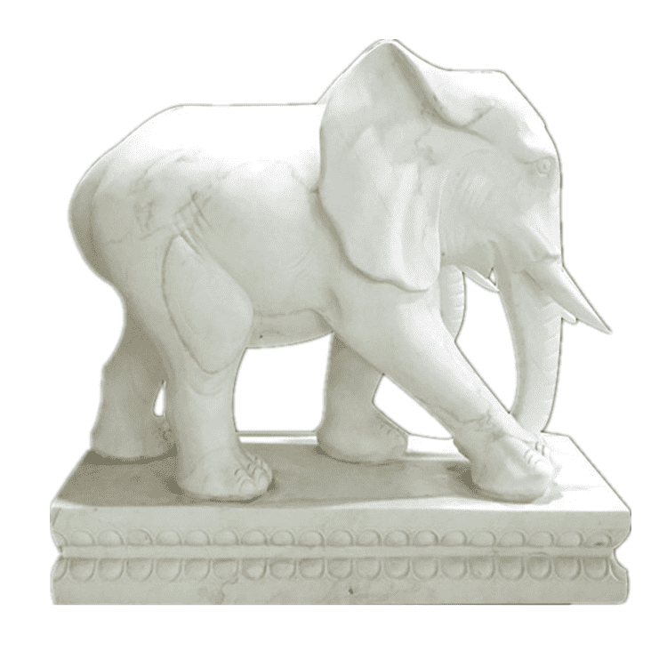 2018 wholesale price Figure Sculpture - Temple  decoration 100% hand carved  animal sculpture white stone marble elephant statue – Atisan Works