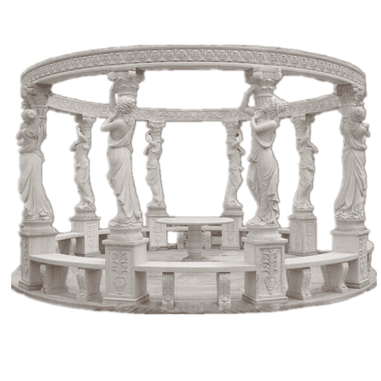 Factory price western style outdoor garden decoration natual white marble gazebo with dome