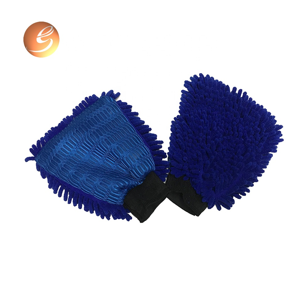 Wholesale custom microfiber chenille sandwich mitt car cleaning glove