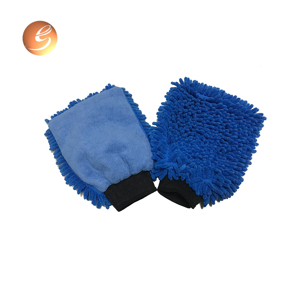 Wholesale double side soft microfiber chenille mitt car wash glove