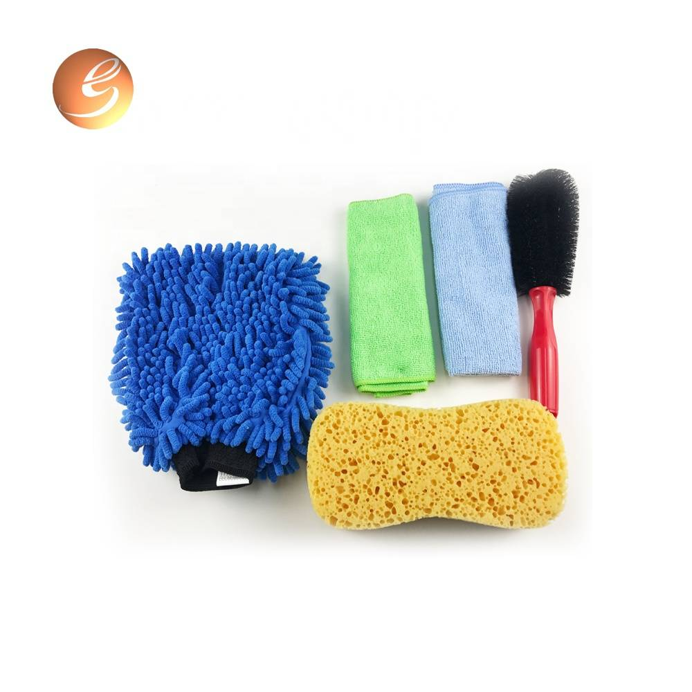 5 pcs car washing microfiber chenille cleaning glove sponge towel set