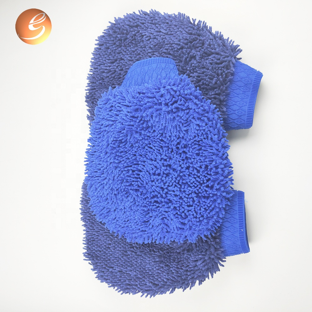 Hot Sale Blue Automobile Wash Chenille Dusting Mitts Supply
