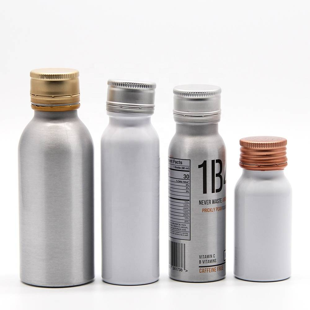 environmentally friendly customized design biodegradable aluminum empty aluminium bottle for beverage Featured Image