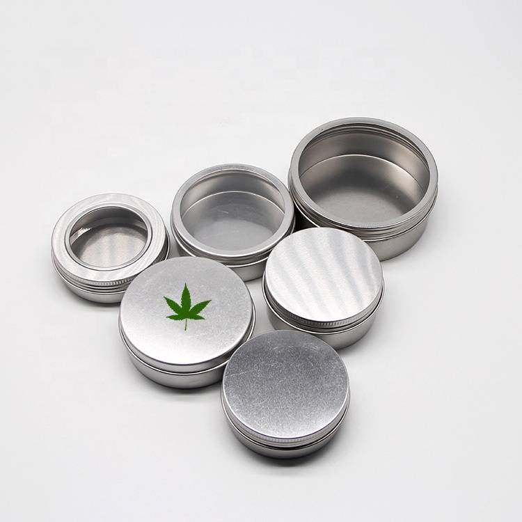 Custom Empty Round Storage hemp weed balm CBD oils tea packaging Metal Aluminium tin/ can/ concentrate jar