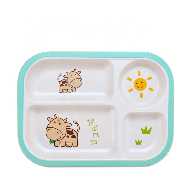 Super Lowest Price Microwave Lunch Box Wheat Straw - Creative split health biodegradable children's plate skid resistant easy to clean bamboo fiber tableware – Naike