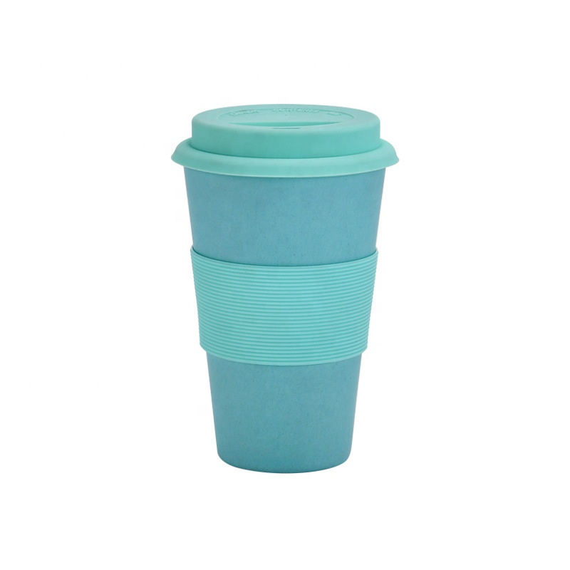 Creative biodegradable mug silicone cover anti perm coffee cup silicone cover leakproof portable water cup