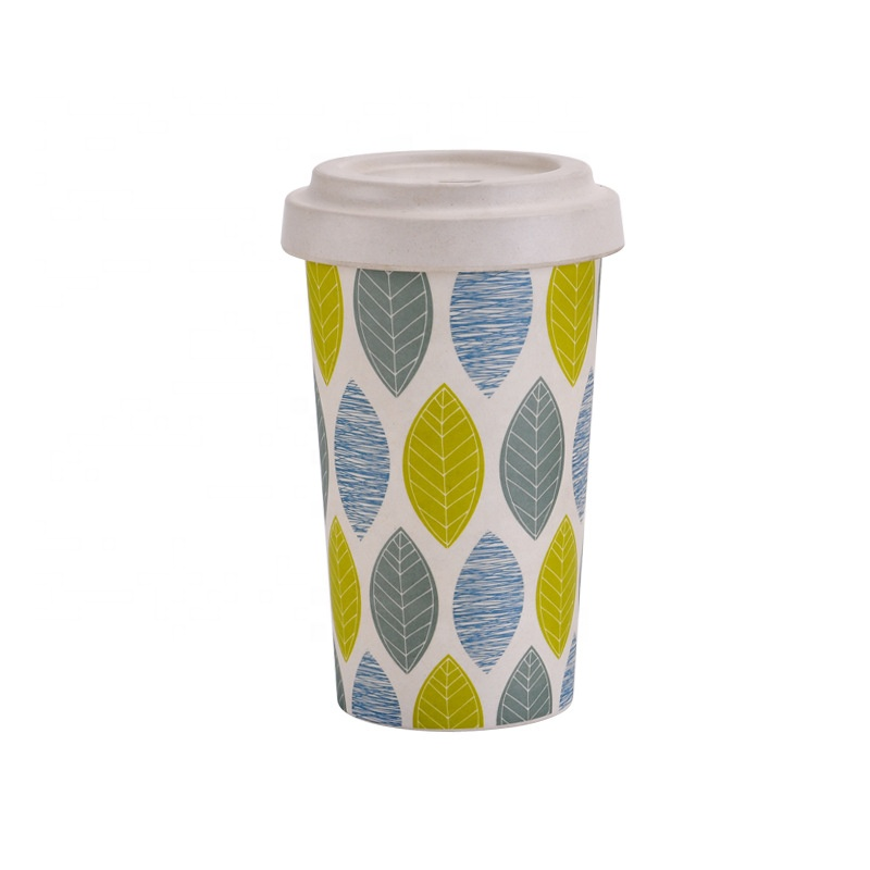 Sealed bamboo fiber coffee cup environmental friendly biodegradable creative mug fashionable portable water cup