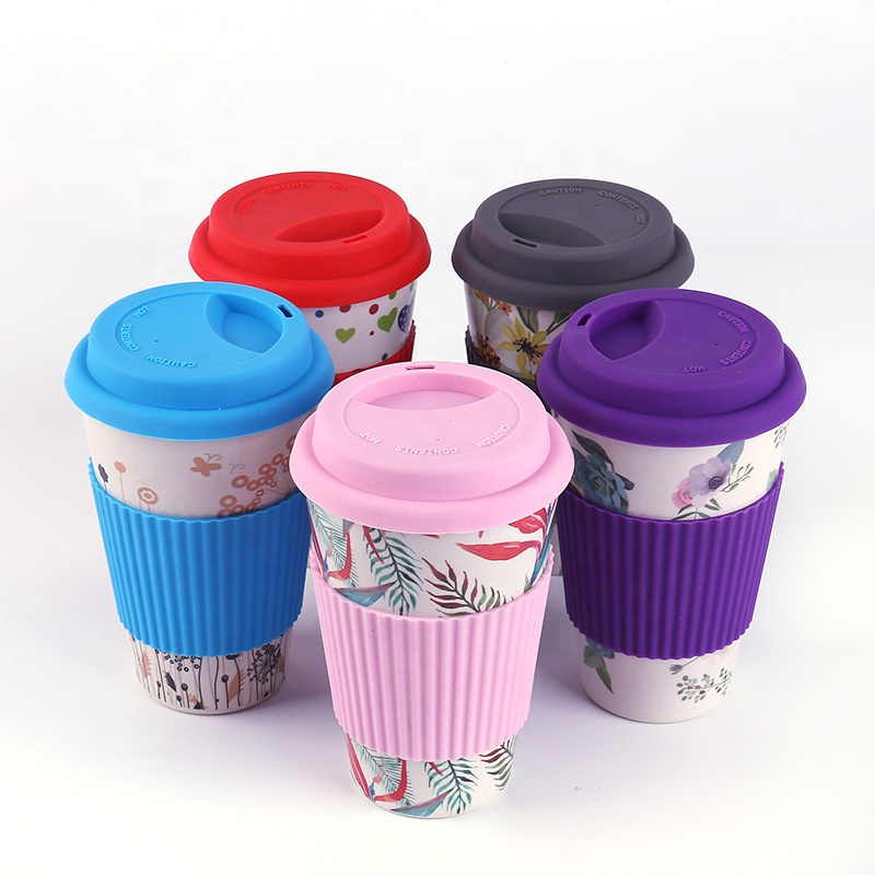 PriceList for Disposable Coffee Cup - Bamboo fiber creative pattern coffee cup thickened silica gel cover anti ironing with cover water cup – Naike