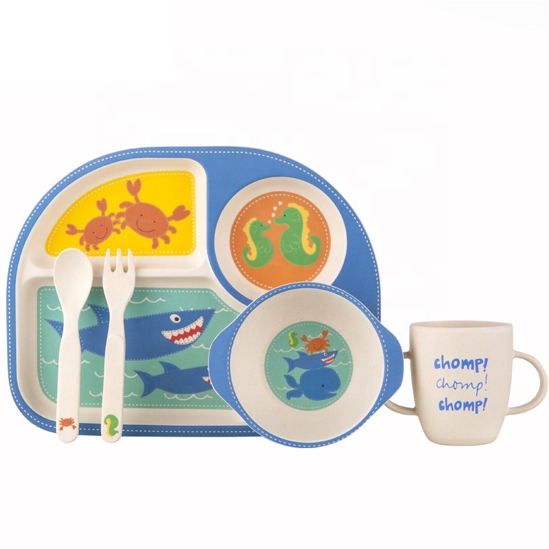 Biodegradable non slip bamboo fiber tableware set is safe environmentally friendly and durable baby tray