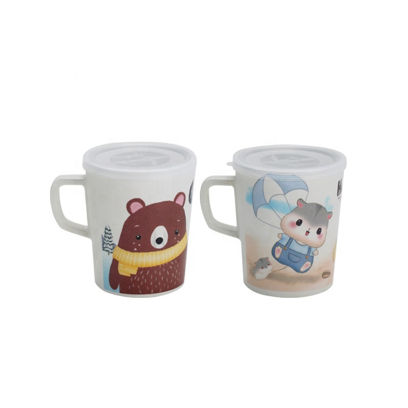Cartoon bamboo fiber dust proof insulation children's mug creative fashion with cover biodegradable drinking cup