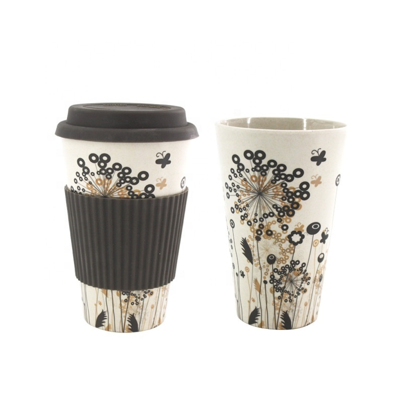 Special Design for Accompanying Cups Mugs Magnetic Cups - Health and environmental friendly biodegradable coffee cup with silicone cover resistant bamboo fiber mug – Naike