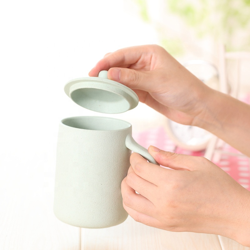 Reasonable price for Eco Water Bottle - Creative thickened bamboo fiber coffee cup pure color fashionable home mug with cover handle anti hot cup – Naike